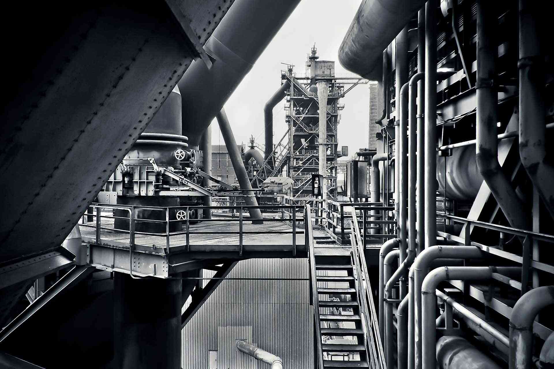 black and white factory industrial plant